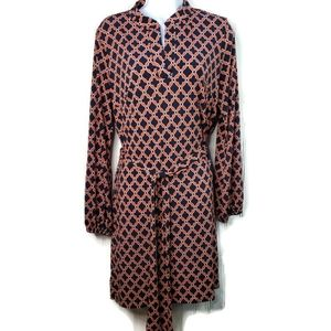 Laundry by Design Long Sleeve Geo Belted Dress